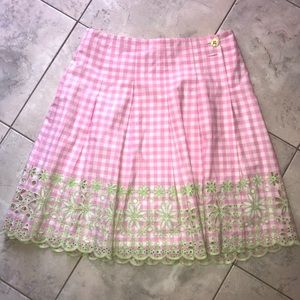 Lilly Pulitzer Pink & White Gingham Wrap Skirt